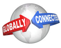 Flechas global conectadas de la palabra alrededor del mundo Imagen de archivo libre de regalías