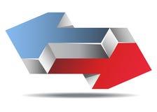 Flechas imposibles Logo Icon Sign, ejemplo del vector. Imagen de archivo