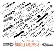 Flechas incompletas dibujadas mano fijadas Fotos de archivo libres de regalías