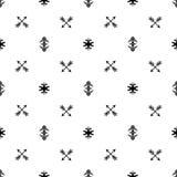 Flechas indias inconsútiles del vector del modelo y fondo blanco y negro de los ornamentos tribales étnicos geométricos de tipo a Foto de archivo libre de regalías