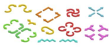 Flechas isométricas coloridas Sistema de la flecha, de diversa forma y de la dirección Foto de archivo libre de regalías