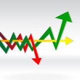 Flechas múltiples en el gráfico Imágenes de archivo libres de regalías