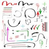 Flechas, muestras y marcas dibujadas mano aisladas Fotografía de archivo libre de regalías
