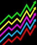 Flechas multicoloras de horario. Foto de archivo