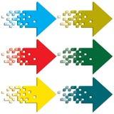 Flechas multicoloras a indicar. Fotografía de archivo