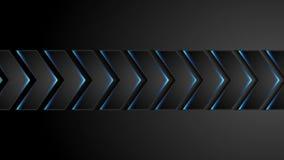 Flechas negras de la tecnología con la animación azul del vídeo de la luz de neón stock de ilustración