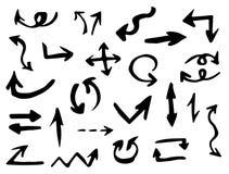 Flechas negras del vector fijadas en el fondo blanco Fotografía de archivo libre de regalías