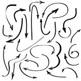 Flechas negras dibujadas mano para el diseño web Foto de archivo libre de regalías