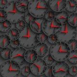 flechas oscuras del rojo del fondo, del minuto y de la hora del concepto del tiempo del extracto del reloj 3D Fotos de archivo