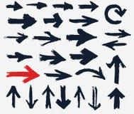 Flechas pintadas Diversas formas de los movimientos del cepillo, sistema del grunge de la flecha del vector stock de ilustración