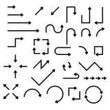 Flechas planas negras fijadas Ilustración del vector aislada en el fondo blanco Imagenes de archivo