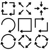 Flechas planas negras fijadas Ilustración del vector aislada en el fondo blanco Fotografía de archivo