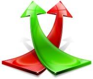 Flechas positivas rojas y verdes Foto de archivo libre de regalías