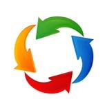 Flechas que reciclan el logotipo colorido Fotos de archivo libres de regalías