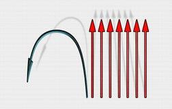Flechas rectas y dobladas Imagen de archivo