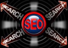 Flechas rojas de la búsqueda de Seo - optimización del Search Engine Fotografía de archivo