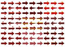 Flechas rojas fijadas Imagen de archivo