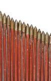 Flechas rojas medievales en una fila Imágenes de archivo libres de regalías