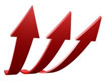 Flechas rojas para arriba Fotografía de archivo libre de regalías