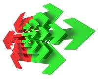 Flechas rojas y verdes Imágenes de archivo libres de regalías