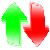 Flechas rojas y verdes