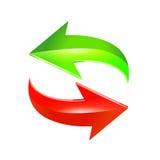 Flechas rojas y verdes Vector Fotos de archivo libres de regalías