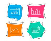Flechas superiores, tráfico del web e iconos del diagrama Muestra de Cashback Infochart del crecimiento, ventana del sitio web, g Imágenes de archivo libres de regalías