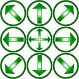 Flechas verdes Imagen de archivo libre de regalías