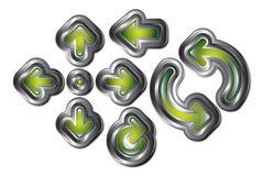 Flechas verdes del metal ilustración del vector