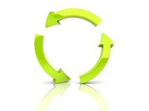 Flechas verdes en círculo Fotografía de archivo libre de regalías