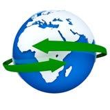 Flechas verdes que dan vuelta alrededor del globo ilustración del vector
