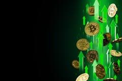 Flechas verdes que destacan como subidas del precio de Bitcoin BTC Aislado en fondo negro, espacio de la copia Los precios de Cry stock de ilustración