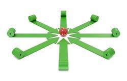 Flechas y bola roja Imágenes de archivo libres de regalías