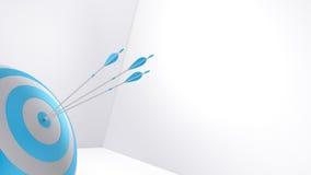 flechas y diana de la representación 3d Foto de archivo libre de regalías