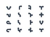 Flechas y muestras direccionales Imagen de archivo