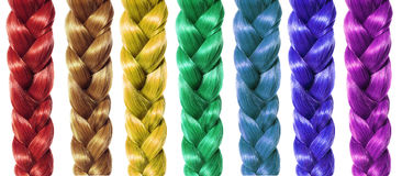 Flechten Sie Haar, die farbigen Zöpfe, die auf Weiß lokalisiert werden Lizenzfreies Stockbild