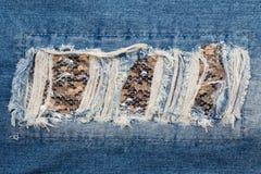 Fleckenblue jeans Stockbilder