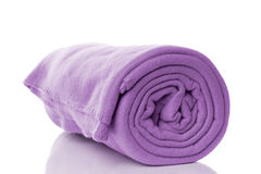 Fleece blanket. Purple fleece blanket with reflection Stock Photos