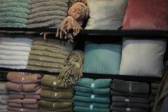 Fleece blankets and trow pillows Stock Photos