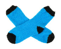 Fleece blue and black socks Royalty Free Stock Images