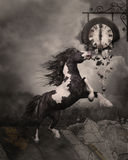 Fleeing From The Apocalypse. A wild horse running away from the Apocalypse! The ground rises and cities are falling apart Royalty Free Stock Photos
