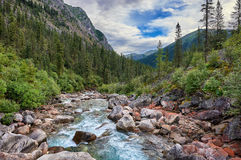 Fleeing mountain river flows Stock Images