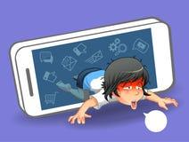 She is fleeing from social media. vector illustration
