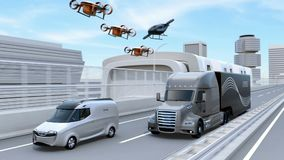 Fleet of American Trucks, cargo drones and flying car