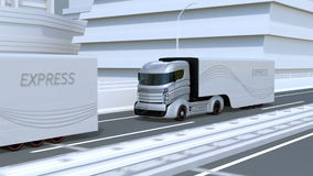 A fleet of autonomous trucks driving on highway. Connected cars concept. 3D rendering animation stock video