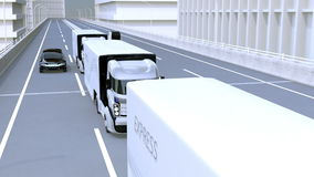 A fleet of autonomous trucks driving on highway. Connected cars concept. 3D rendering animation stock video footage