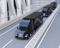 A fleet of black self-driving Fuel Cell Powered American Trucks driving on highway vector illustration