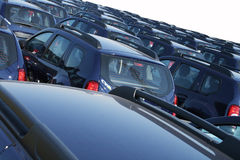 Fleet of cars. Fleet of same model of car royalty free stock photo
