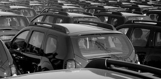 Fleet of cars. Large auto fleet crowded parked royalty free stock photography