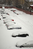 Fleet of cars. Covered with snow, parked vehicles stock image